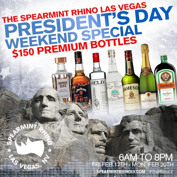 spearmint rhino president's day special
